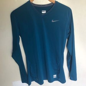 Nike Pro fitted blue long sleeve workout top